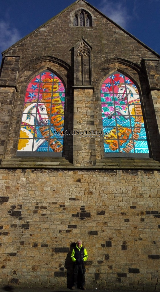 Restored windows at The Allegory of Morecambe Bay by the very talented Shane Johnstone using imitation leaf and enamel paints supplied by ourselves